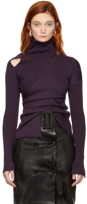 Purple Knit Shoulder Exposure Turtleneck
