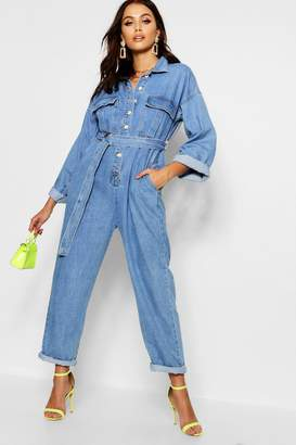 boohoo Utility Pocket Belt Denim Boilersuit