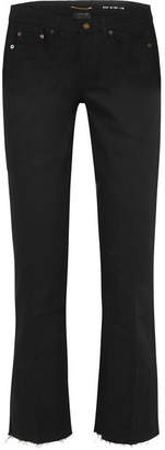 Saint Laurent Cropped Frayed Low-rise Flared Jeans - Black