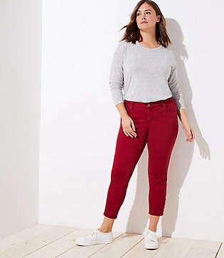 LOFT Plus Modern Button Cuff Skinny Jeans in Robin Red