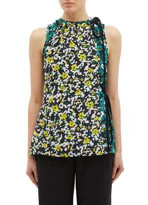 Proenza Schouler Tie side colourblock floral print georgette sleeveless top