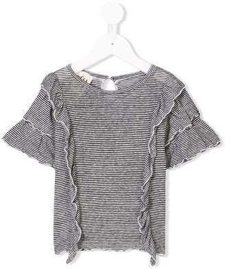 Douuod Kids striped ruffle T-shirt