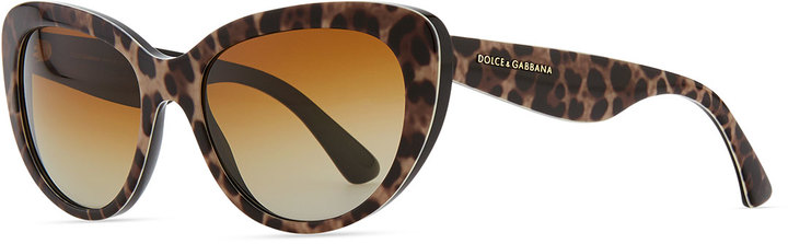 D&G Leopard-Print Polarized Sunglasses