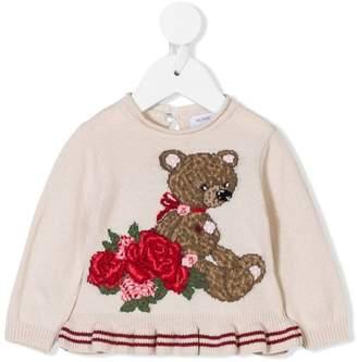 MonnaLisa intarsia bear ruffled jumper