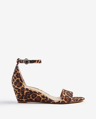 Ann Taylor Giuliana Leopard Print Wedge Sandals