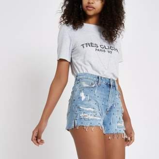 River Island Womens Denim jewel high waist hot pants