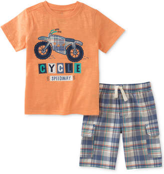 Kids Headquarters 2-Pc. Graphic-Print Cotton T-Shirt & Plaid Shorts Set, Little Boys