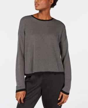 Eileen Fisher Contrast-Trim Crewneck Sweater
