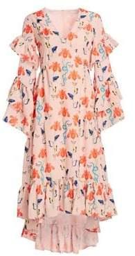 Luna Long Sleeve Ruffled Gown