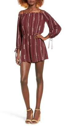 Women's Lush Stripe Cold Shoulder Romper $55 thestylecure.com