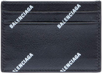 Balenciaga Men's Allover Logo-Print Leather Card Case