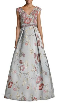 Jovani Sleeveless Floral Satin Ball Gown, Multicolor $795 thestylecure.com