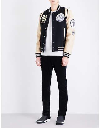 Schott Patch appliqué wool-blend and leather varsity jacket