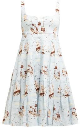 Emilia Wickstead Claretta Pleated Ship Print Linen Dress - Womens - Blue Print