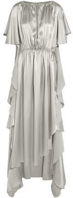 Juan Carlos Obando Asymmetric Ruffled Silk-Satin Gown