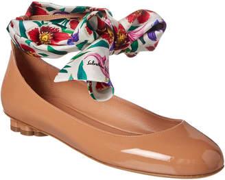 Salvatore Ferragamo Foulard Ankle Strap Patent Ballet Flat