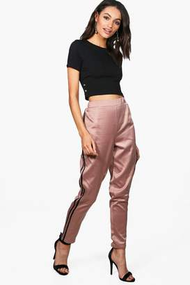 boohoo Paola Contrast Side Panel Slim Fit Trousers