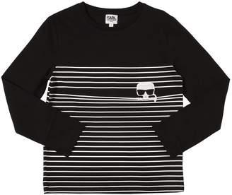 Karl Lagerfeld Stripes Print Cotton Jersey T-Shirt