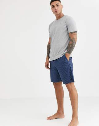 Tommy Hilfiger lounge set with grey t-shirt and blue check flag logo shorts