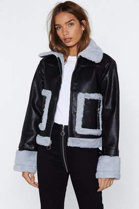 Nasty Gal This is Your Captain Speaking Faux Fur Aviator Jacket