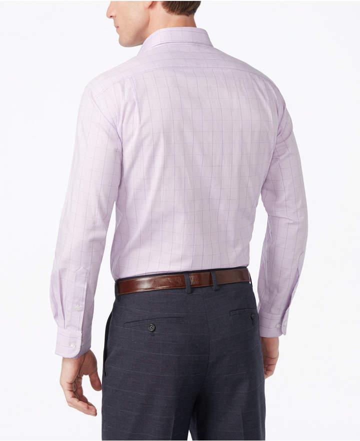 Club Room Estate Men's Classic-Fit Wrinkle Resistant Lavender Glenplaid Dress Shirt, Created for Macy's