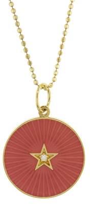 Andrea Fohrman Pink French Enamel Diamond Star Necklace