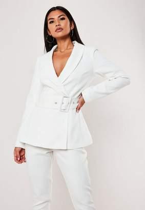 Missguided White Long Belted Waist Blazer
