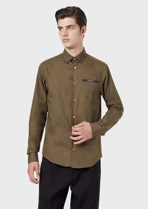 Giorgio Armani Cotton Poplin Shirt With Logo Pocket