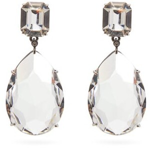 Alexander McQueen Crystal Embellished Pear Drop Earrings - Womens - Crystal