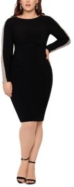 Xscape Evenings Plus Size Embellished-Mesh-Sleeve Dress