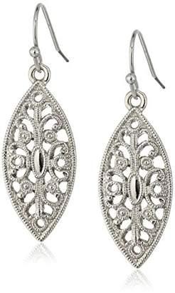 1928 Jewelry -Tone Filigree Post Drop Earrings