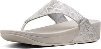 FitFlop Lulu Snake-Print Leather Toe-Thongs