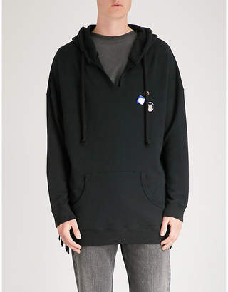 Hollywood Trading Company Logo-print cotton-jersey and leather hoody