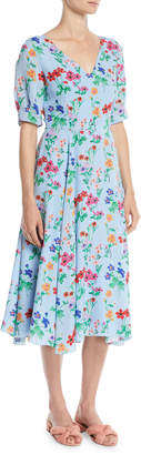 Novis Fleetwood V-Neck Half-Sleeve Floral-Print Midi Silk Dress