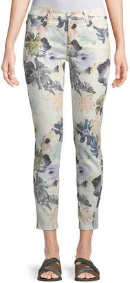 7 For All Mankind The Ankle Skinny Floral-Print Jeans