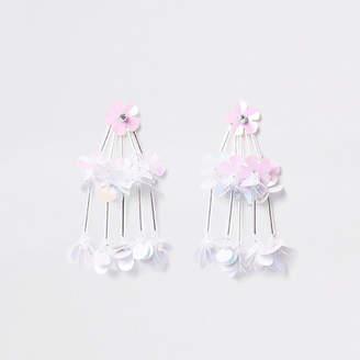 River Island White tiered sequin flower drop stud earrings