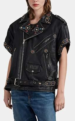 R 13 Women's Studded Leather Biker Jacket - Black