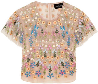 Needle & Thread - Flowerbed Embellished Tulle Top - Blush $300 thestylecure.com