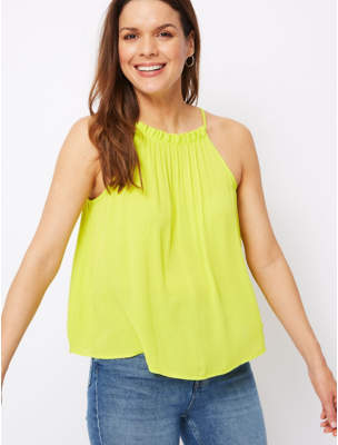 9f7f862b989 George Neon Lime Textured Trapeze Camisole Top
