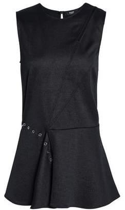 Versace Embellished Cutout Stretch-Knit Peplum Top