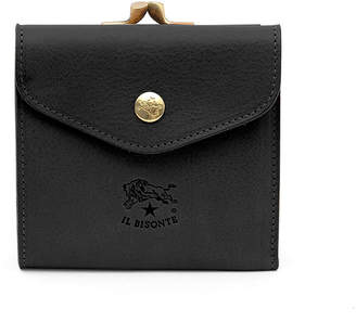 Il Bisonte Leather Snap and Flap Wallet, Black