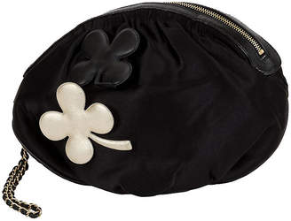 One Kings Lane Vintage Chanel Black Silk Evening Bag with Clovers