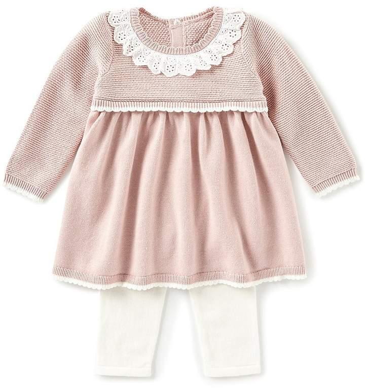 Edgehill Collection Baby Girls Newborn-6 Months Long Sleeve Eyelet Ruffle Sweater & Leggings Set