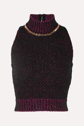Versace Cropped Embellished Metallic Bouclé Sweater - Black