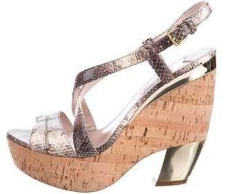 Miu Miu Embossed Platform Sandals