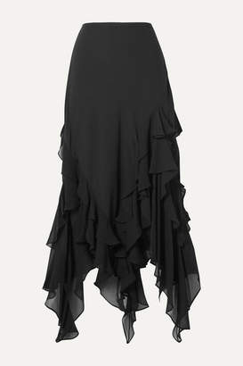 Michael Kors Asymmetric Ruffled Silk-georgette Skirt - Black
