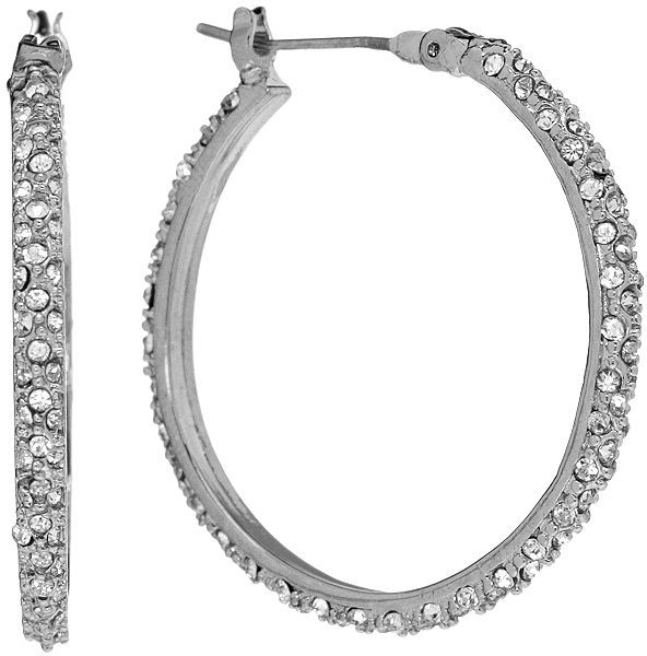 Chaps silver tone simulated crystal pave hoop earrings
