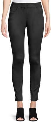 Joan Vass Flat-Front Faux-Suede Skinny Pants