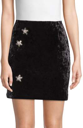 Sandro Embellished Velvet Mini Skirt