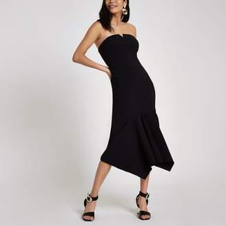 01b07510 River Island Womens Black frill hem bandeau midi dress